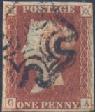 1841 1d Red SG8 Plate 24 'GA'